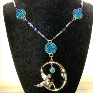 Faerie moon pendant w/ glass beads & toggle clasp
